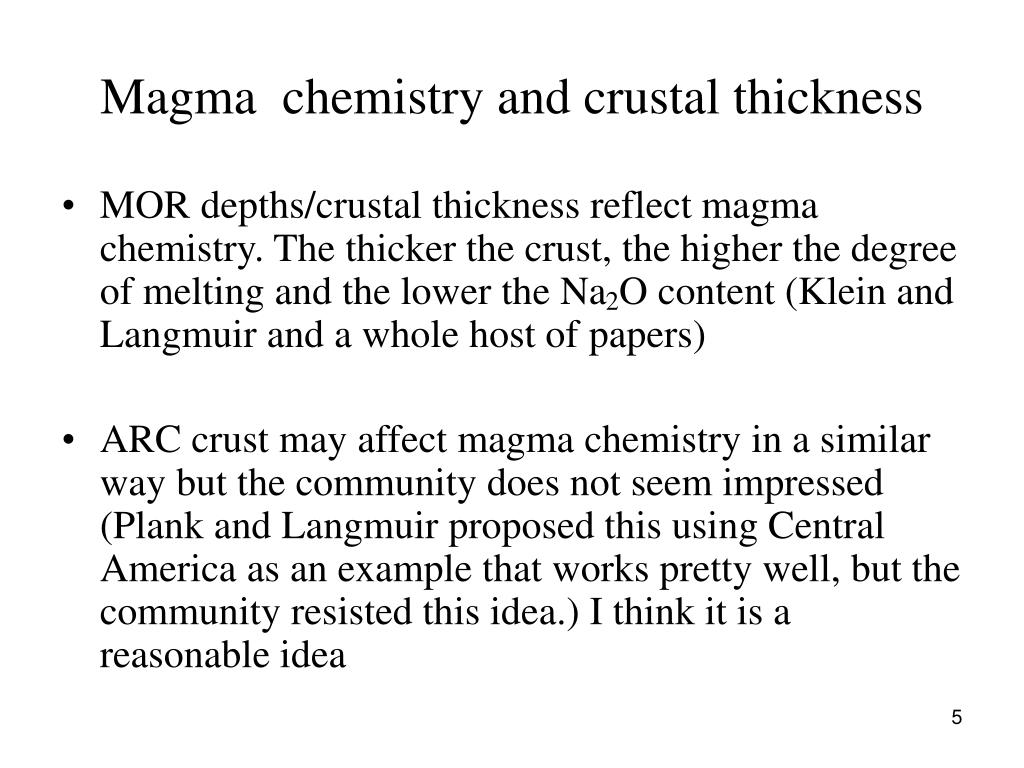 Magma  chemistry and crustal thickness