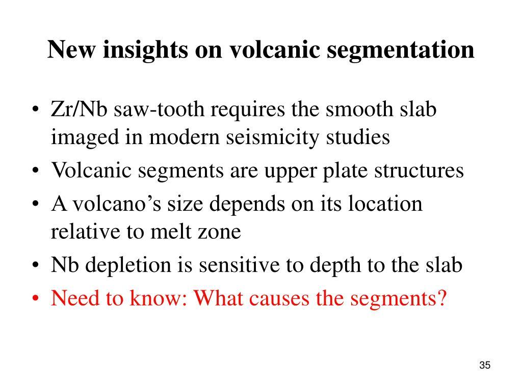 New insights on volcanic segmentation