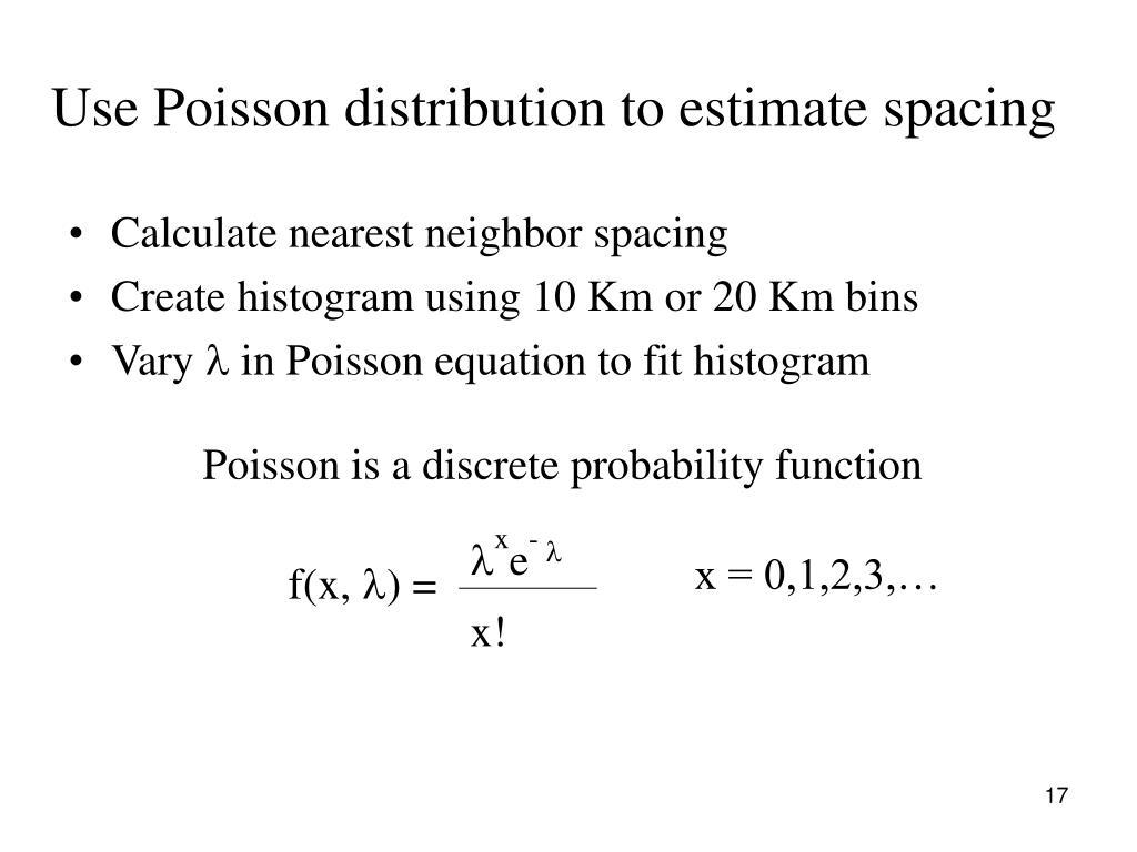 Use Poisson distribution to estimate spacing