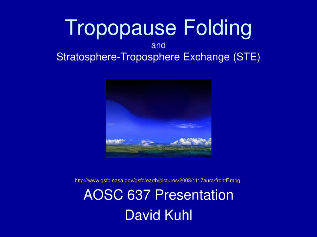 tropopause folding and stratosphere troposphere exchange ste l.