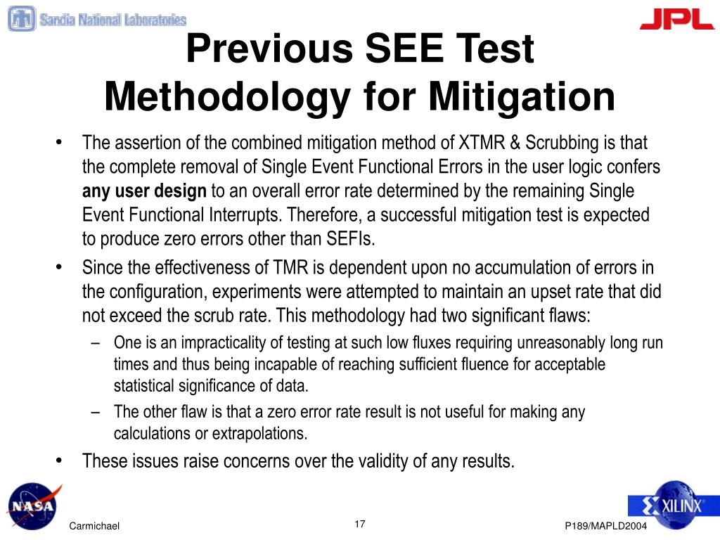 Previous SEE Test Methodology for Mitigation