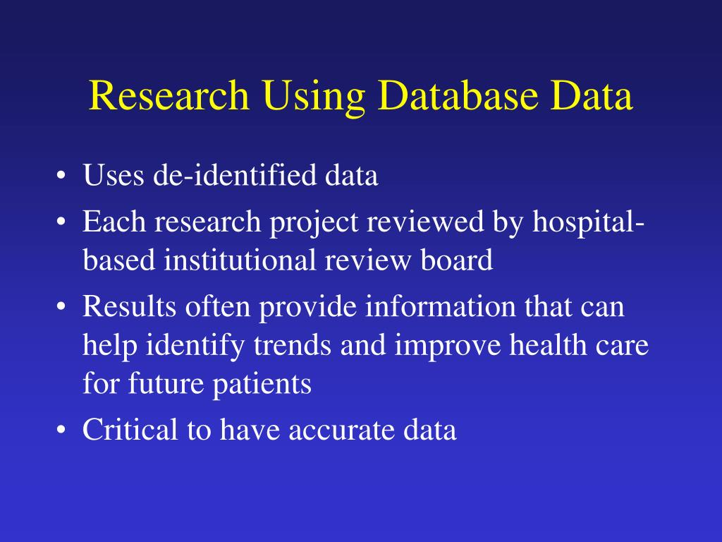 Research Using Database Data