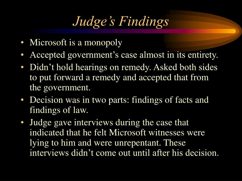 Judge's Findings