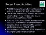 recent project activities