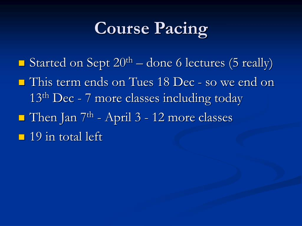 course pacing l.