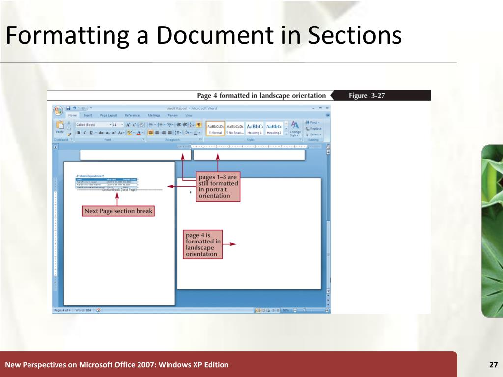 Formatting a Document in Sections