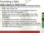 formatting a table with a built in table style
