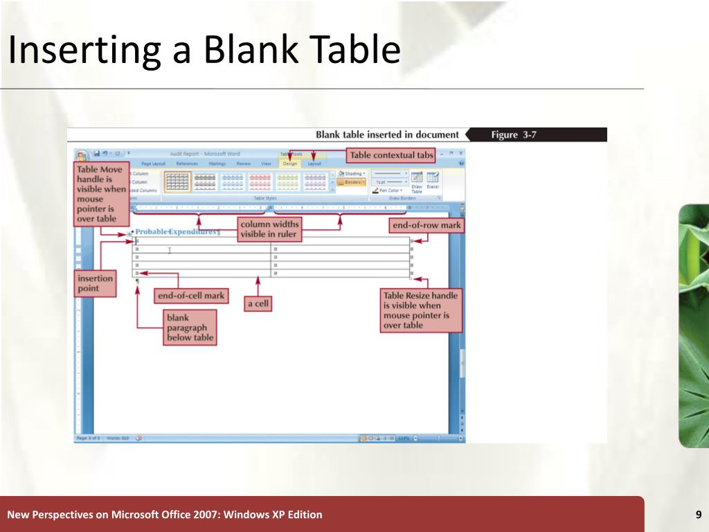 Inserting a Blank Table