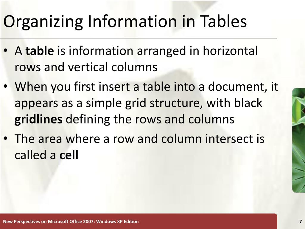 Organizing Information in Tables