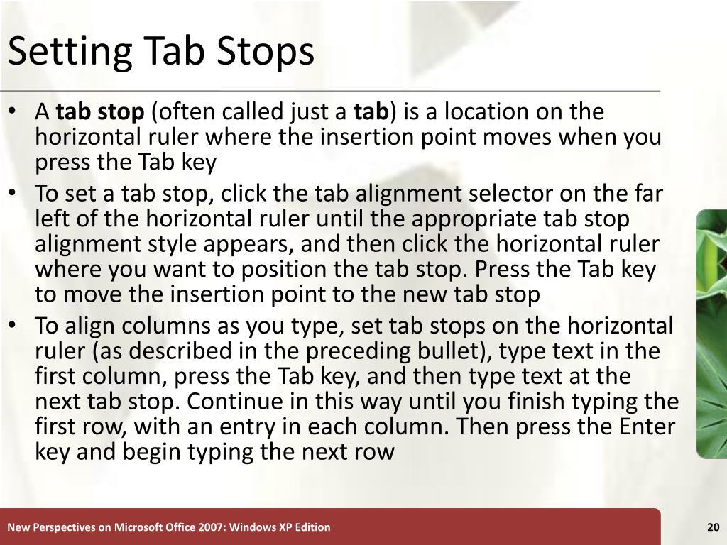 Setting Tab Stops