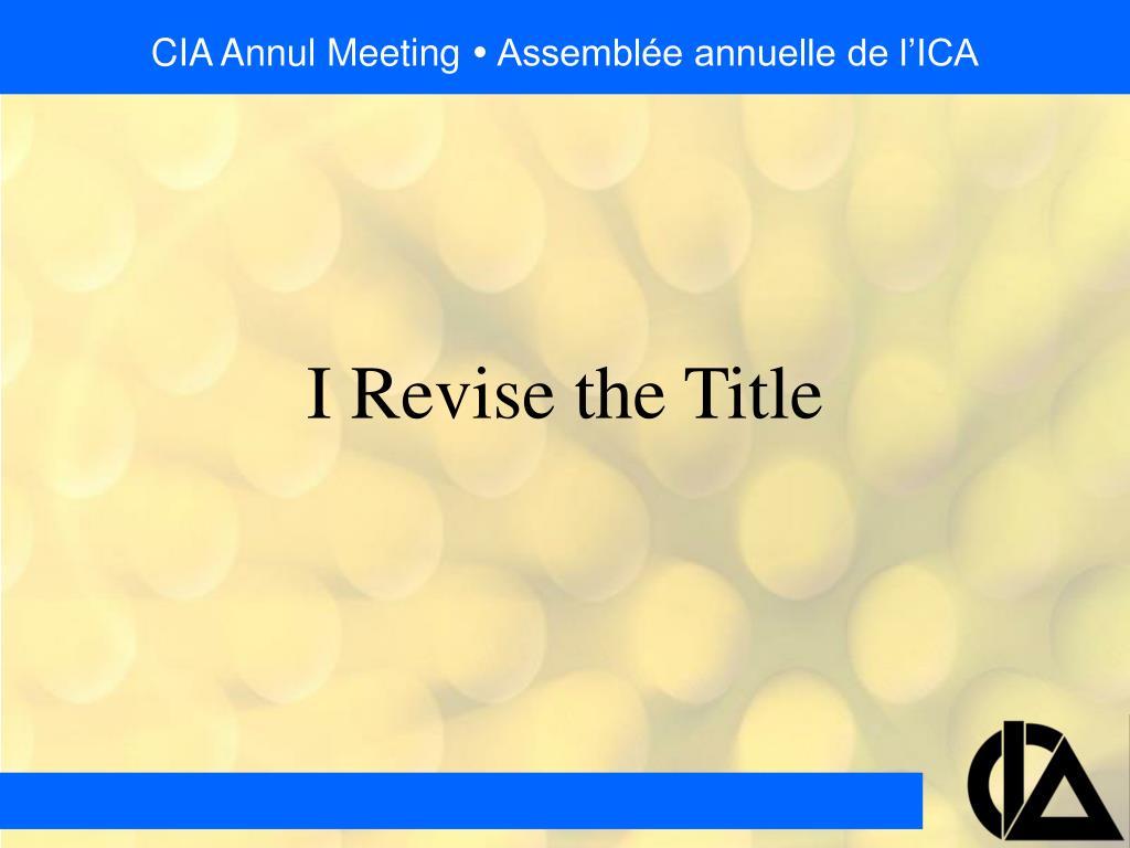 CIA Annul Meeting