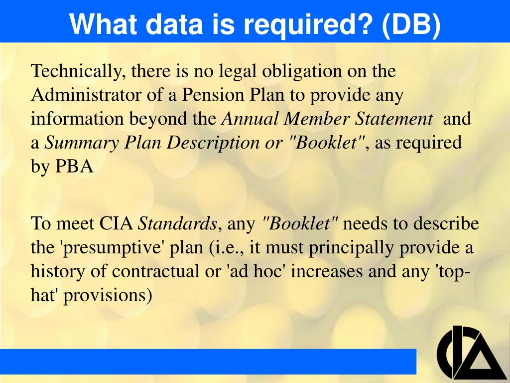 What data is required? (DB)