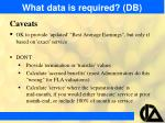 what data is required db15