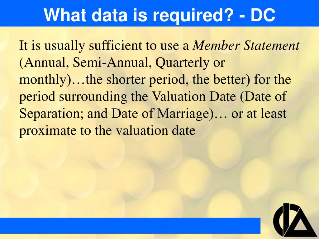 What data is required? - DC
