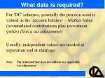 what data is required