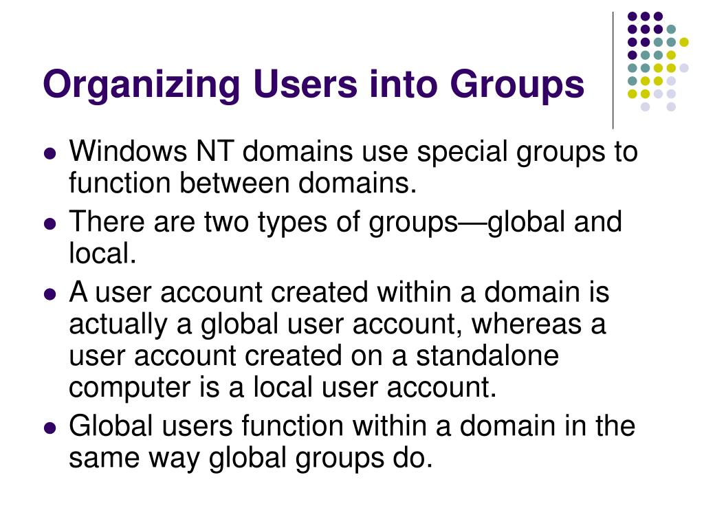 Organizing Users into Groups