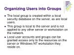 organizing users into groups18