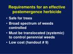 requirements for an effective postemergence herbicide