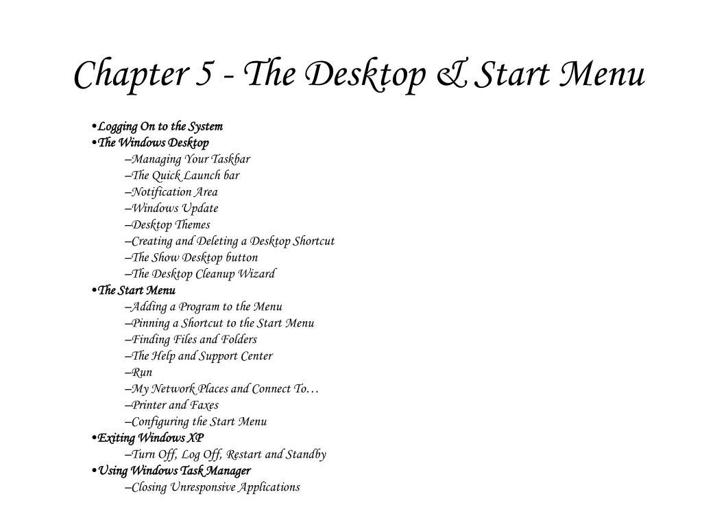 chapter 5 the desktop start menu l.