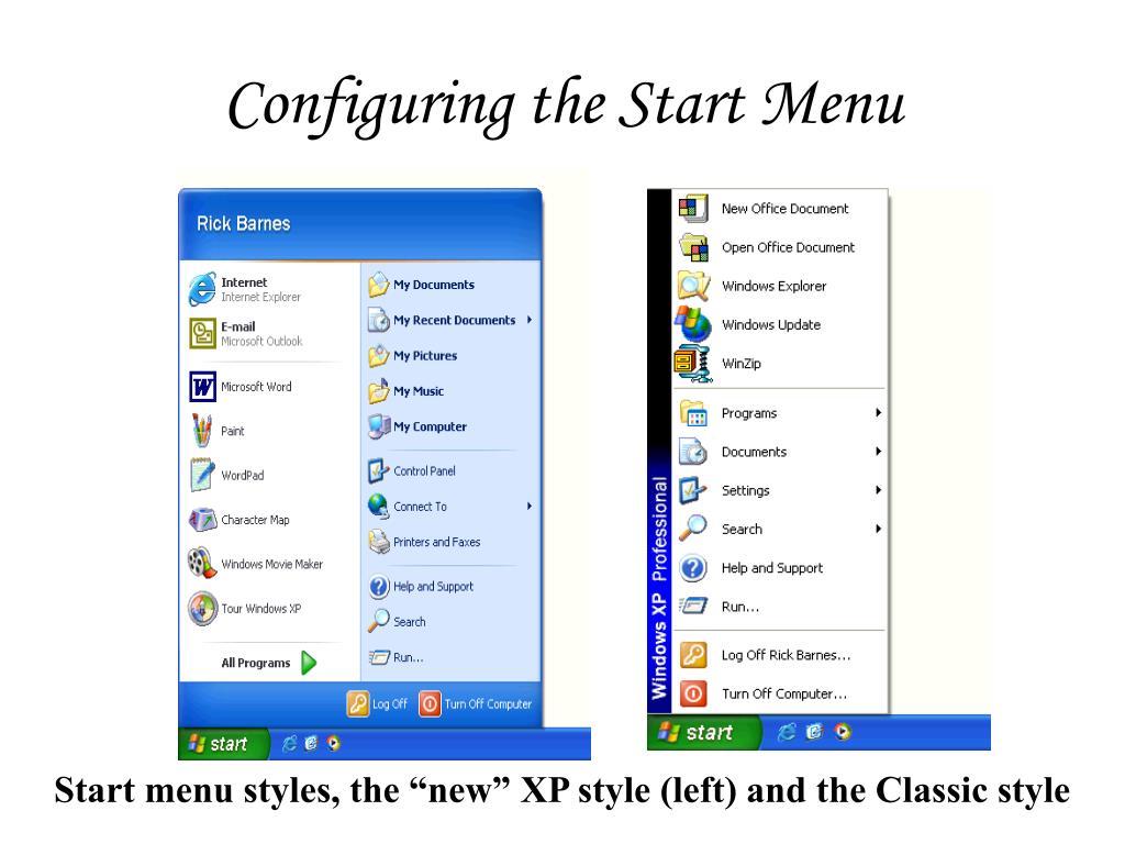 Configuring the Start Menu