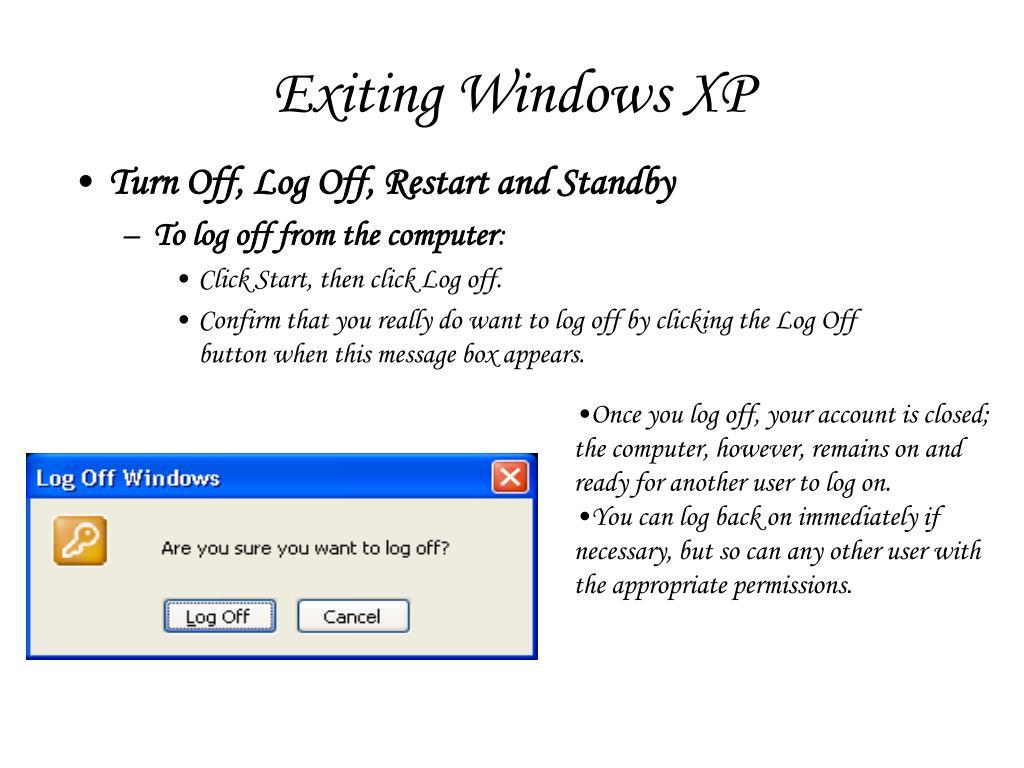 Exiting Windows XP