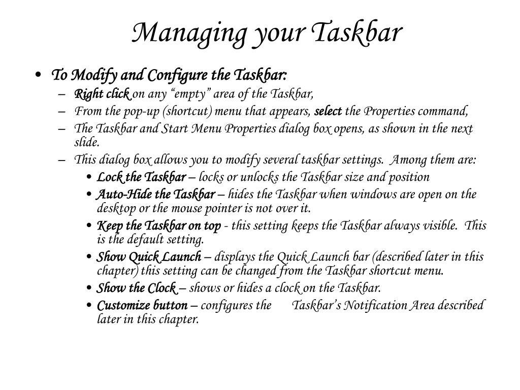 Managing your Taskbar