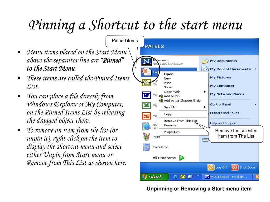 Pinning a Shortcut to the start menu