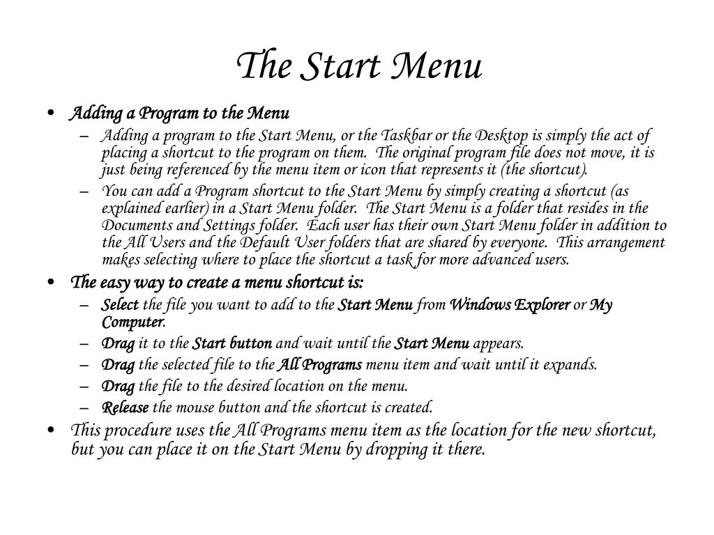 The Start Menu