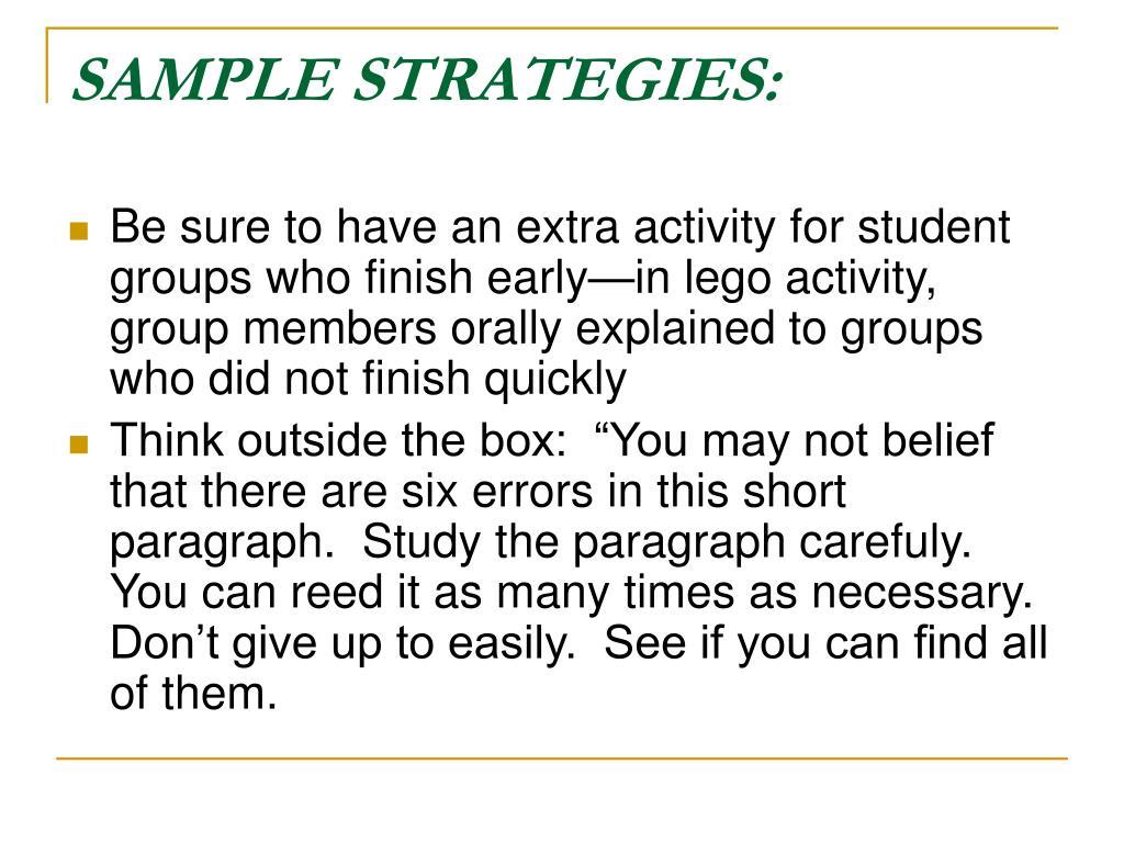 SAMPLE STRATEGIES: