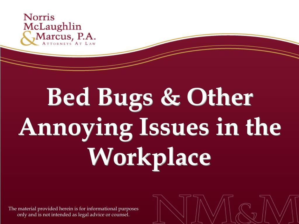 bed bugs other annoying issues in the workplace l.