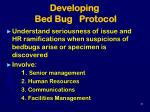 developing bed bug protocol
