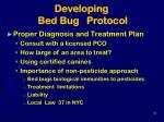 developing bed bug protocol36