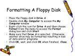 formatting a floppy disk
