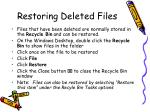restoring deleted files