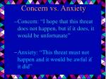 concern vs anxiety