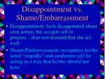 disappointment vs shame embarrassment