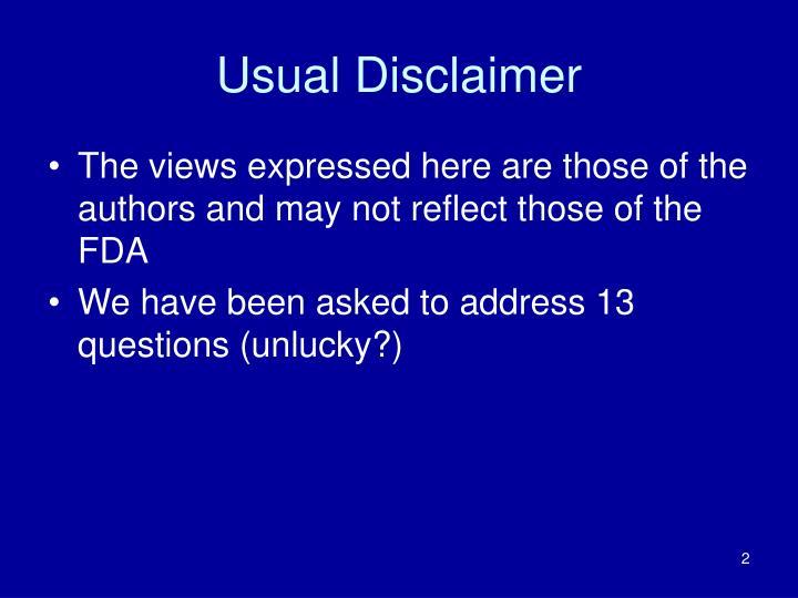 Usual disclaimer
