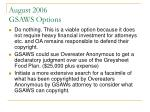 august 2006 gsaws options