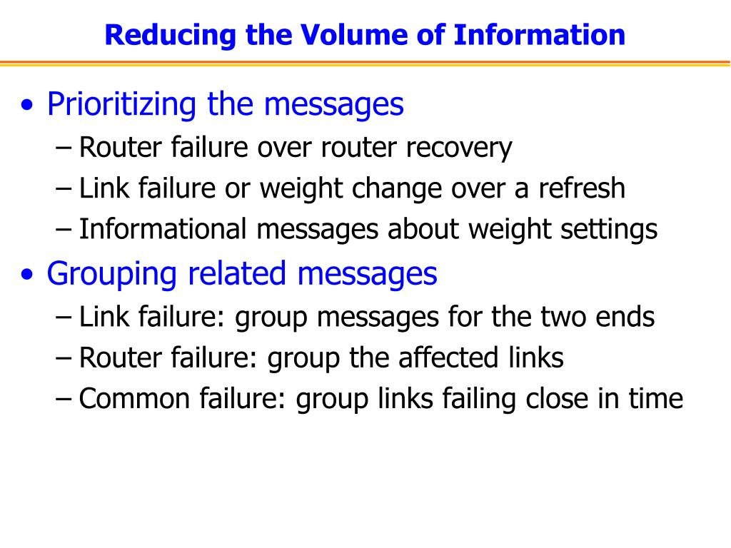 Reducing the Volume of Information