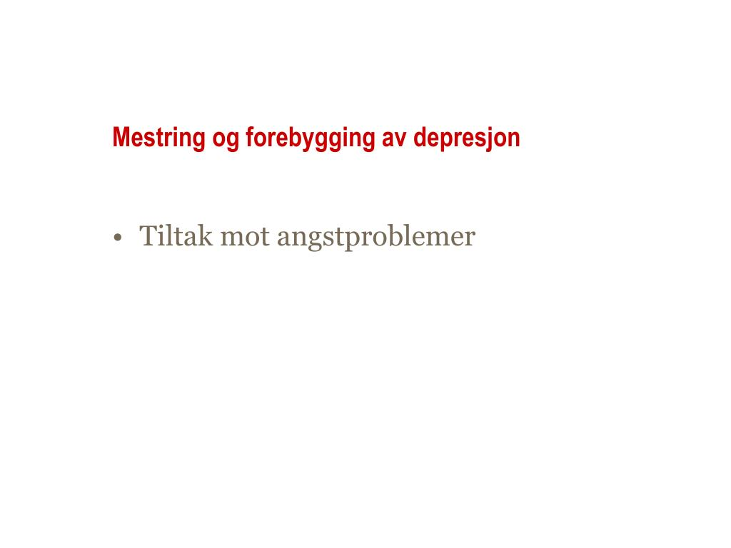 mestring og forebygging av depresjon l.