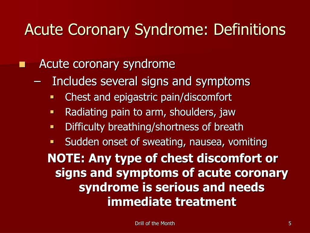 Acute Coronary Syndrome: Definitions