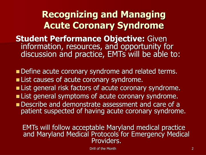 Recognizing and managing acute coronary syndrome