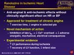 ranolazine in ischemic heart disease