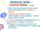 research skills charts tables te 195j