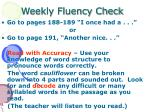 weekly fluency check