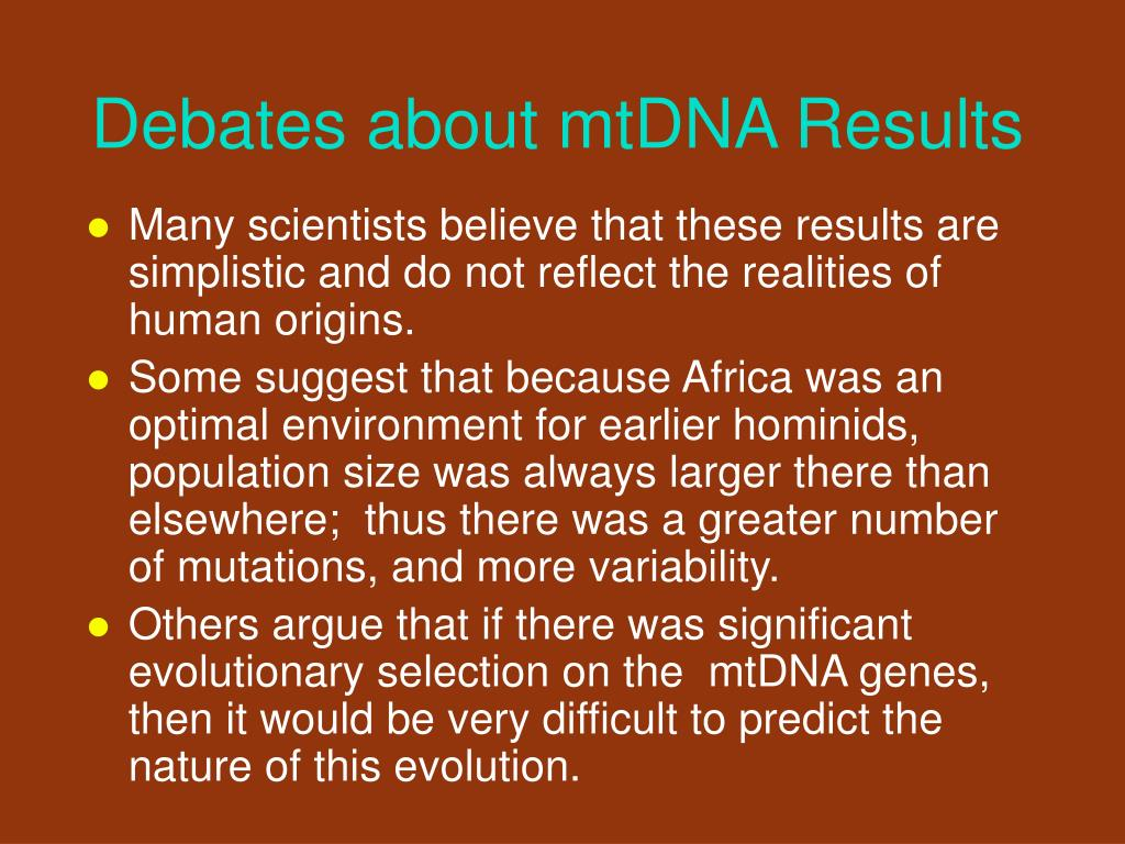 Debates about mtDNA Results