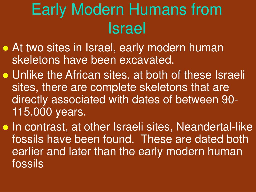 Early Modern Humans from Israel