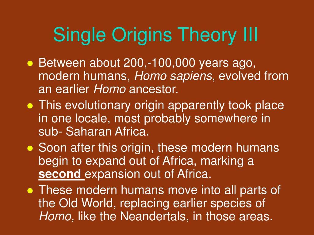 Single Origins Theory III
