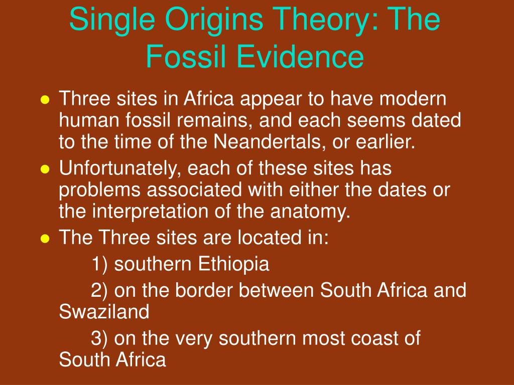 Single Origins Theory: The Fossil Evidence
