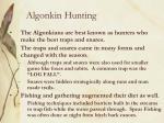 algonkin hunting